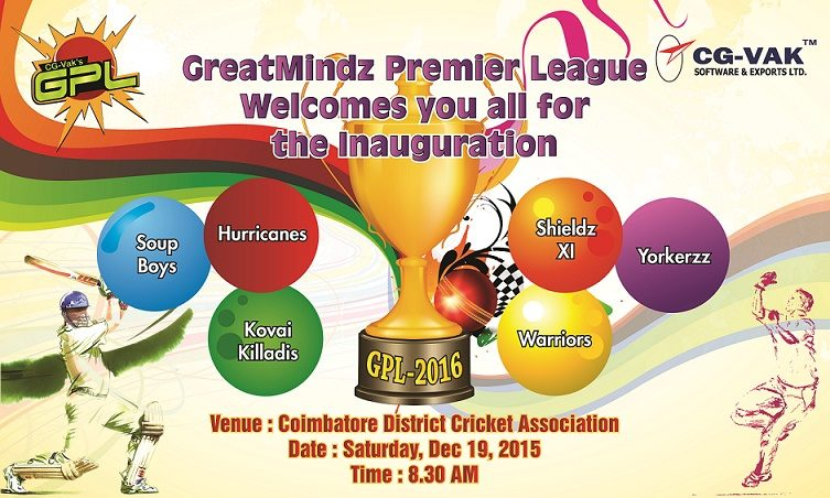 Invitation For Corporate Cricket Tournament: GPL 2016, CG-VAKs Internal Corporate Cricket Tournament